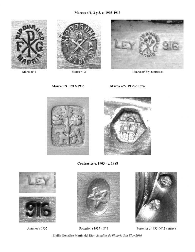 Marcas de platero de los Talleres de Arte de Félix Granda, entre c. 1903 y c. 1956.