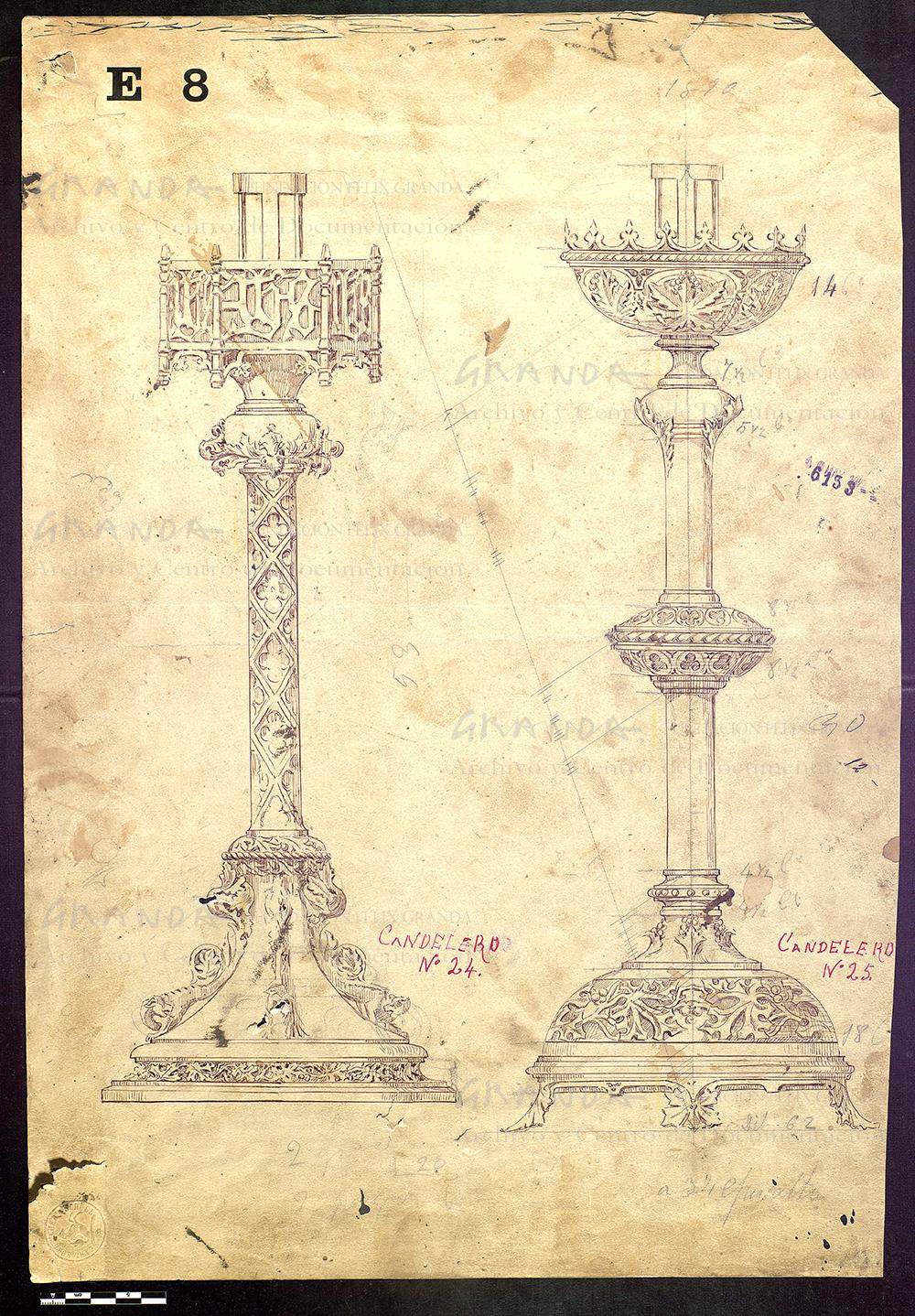 Dibujo de dos candeleros. AFXG.