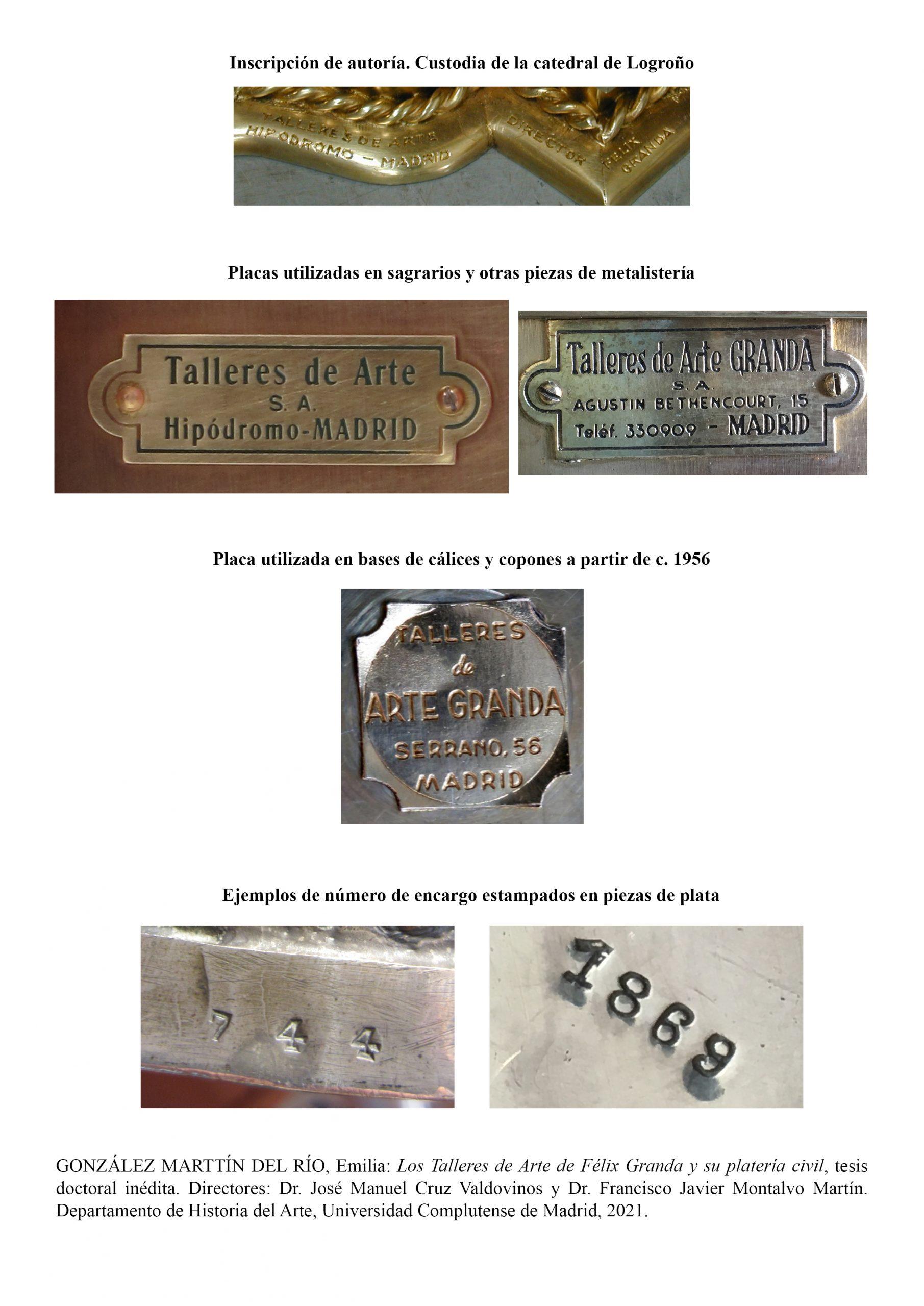 Inscripciones en piezas de los Talleres de Arte